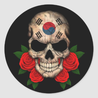 South Korean Flag Skull with Red Roses Classic Round Sticker