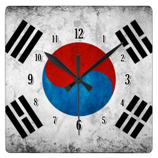 South Korean Flag Square Wall Clock