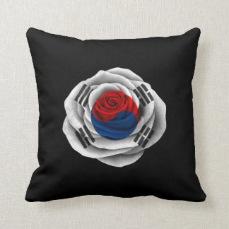 South Korean Rose Flag on Black Throw Pillow