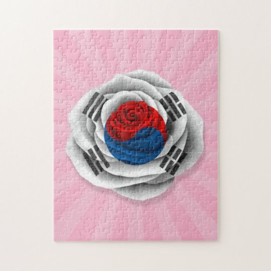 South Korean Rose Flag on Pink Jigsaw Puzzle