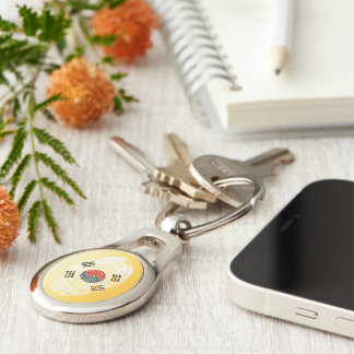 South Korean touch fingerprint flag Silver-Colored Oval Keychain
