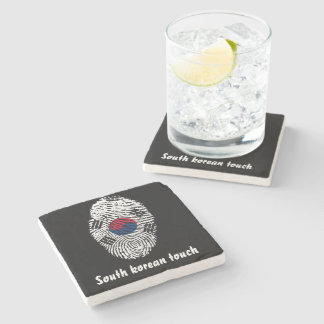 South Korean touch fingerprint flag Stone Coaster