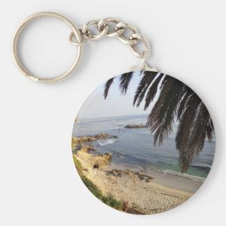 south laguna beach basic round button keychain