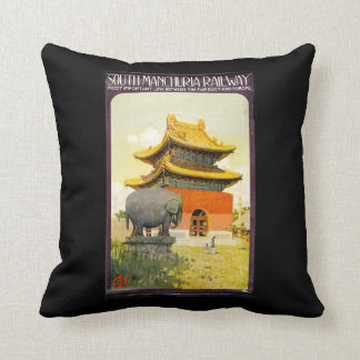 South Manchurian Railway Travel Poster Throw Pillow