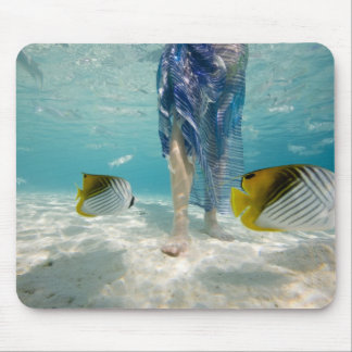 South Pacific, Bora Bora, female tourist walking 2 Mouse Pad