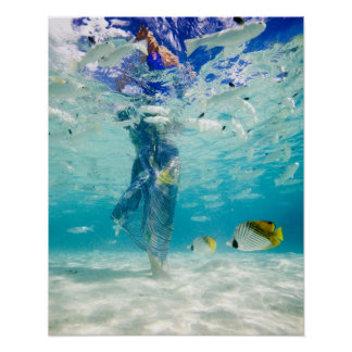South Pacific, Bora Bora, female tourist walking Poster