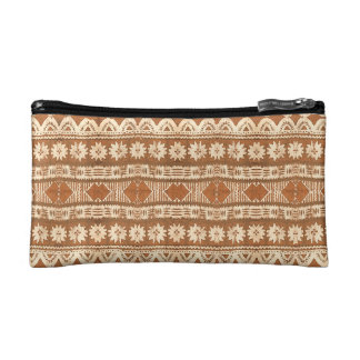 South Pacific Tribal Wood Carved Pattern Fashion Makeup Bag