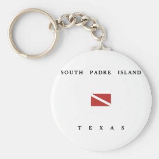 South Padre Island Texas Scuba Dive Flag Basic Round Button Keychain