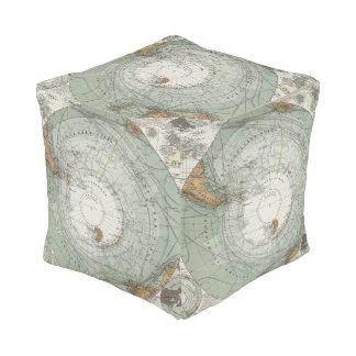 South Polar Region Map Cube Pouf