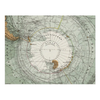 South Polar Region Map Postcard