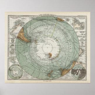 South Polar Region Map Poster