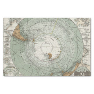 South Polar Region Map Tissue Paper