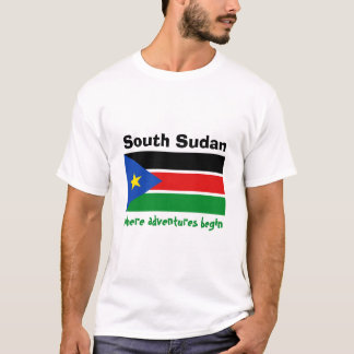 South Sudan Flag + Map + Text T-Shirt
