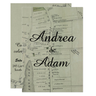 Southampton Vintage Map Wedding Invitation