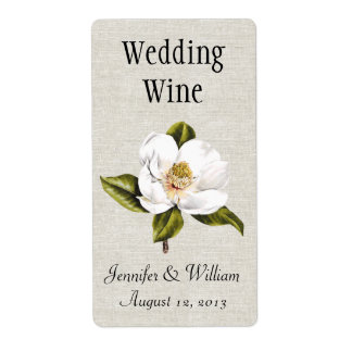 Southern Belle Magnolias Wedding Mini Wine Label Shipping Label