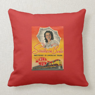 Southern Belle Train Railroad Vintage Throw Pillow