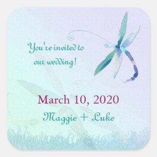 Southern Blue Dragonfly Wedding Invitation Sticker