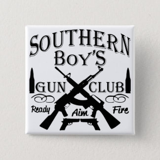 Southern Boy Girl Redneck Gun Club 2 Inch Square Button