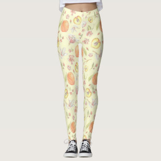 Southern Charm Peach and Magnolia Pattern Leggings
