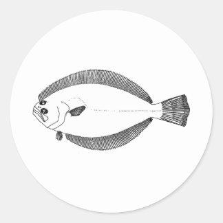 Southern Flounder Line Art Round Sticker