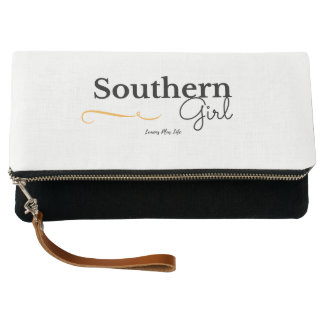 """Southern Girl"" Fold Over Clutch in Black & White"