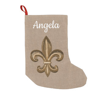 Southern Gold Fleur de Lis & Faux Burlap Small Christmas Stocking