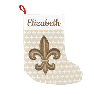 Southern Gold Fleur de Lis & Name Small Christmas Stocking