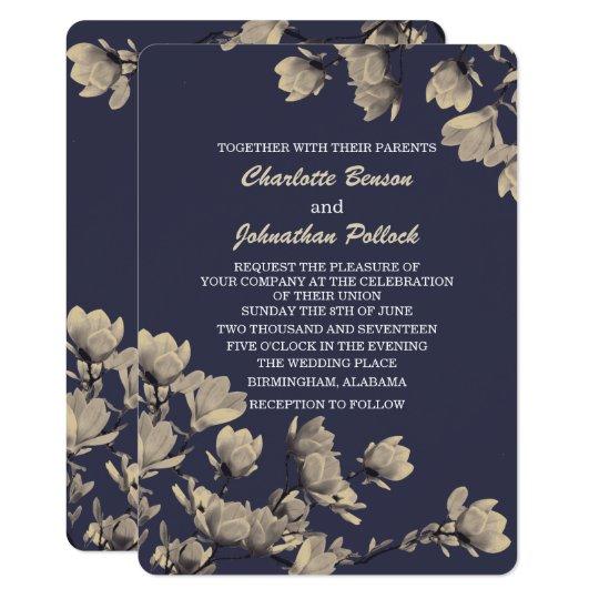 Southern Greige Magnolias Midnight Blue Wedding Card