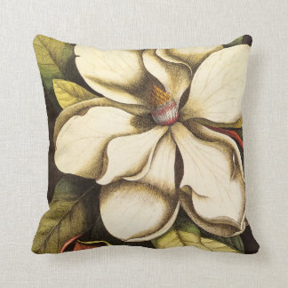 Southern Magnolia Blossom Vintage Throw Pillow