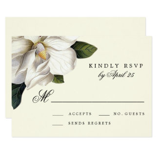 Southern Magnolia Botanical Wedding RSVP Card