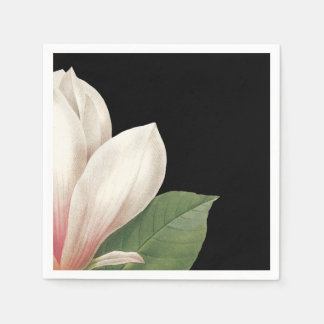 Southern Magnolia Flower | Pink White Black Paper Napkins