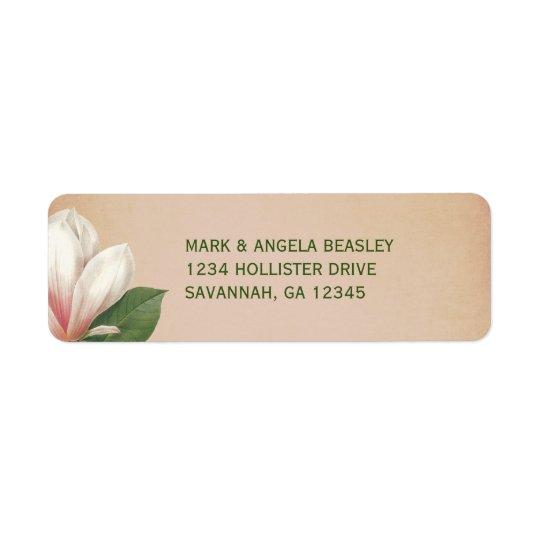 Southern Magnolia Flower Wedding   Antique Blush Return Address Label