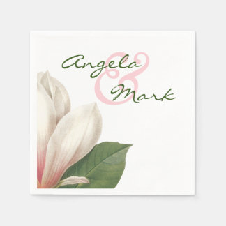 Southern Magnolia Flower Wedding | Pink and White Disposable Napkins
