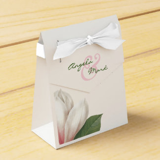 Southern Magnolia Flower Wedding | Pink and White Favor Box