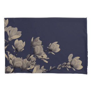 Southern Magnolia Flowers & Midnight Navy Blue Pillowcase