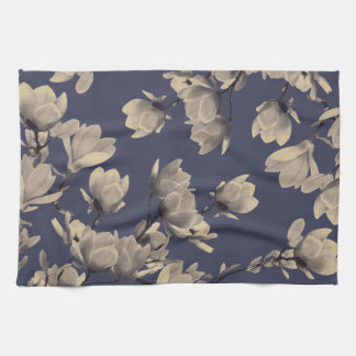 Southern Magnolias & Midnight Blue Floral Kitchen Towel