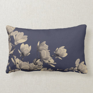 Southern Magnolias & Midnight Blue Lumbar Pillow
