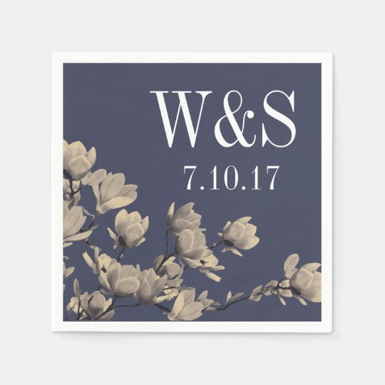 Southern Magnolias & Midnight Blue Wedding Paper Napkins