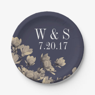 Southern Magnolias & Midnight Blue Wedding Paper Plate