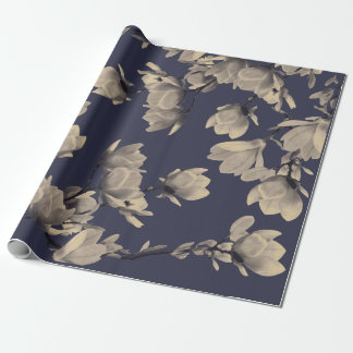 Southern Magnolias & Midnight Blue Wrapping Paper