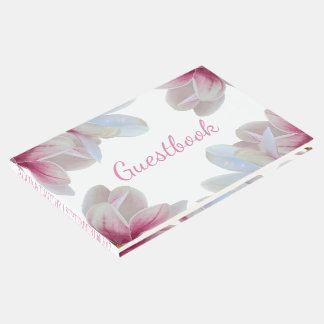 Southern Pink Magnolia Blossoms Wedding Guest Book