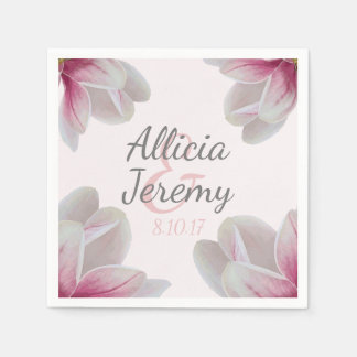 Southern Pink Magnolia Blossoms Wedding Paper Napkins
