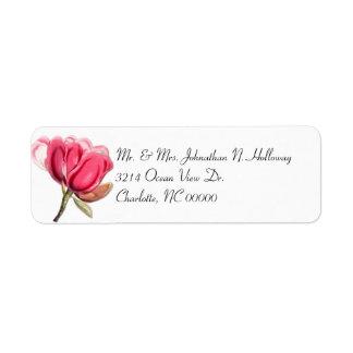 Southern Pink Magnolia Return Address Label
