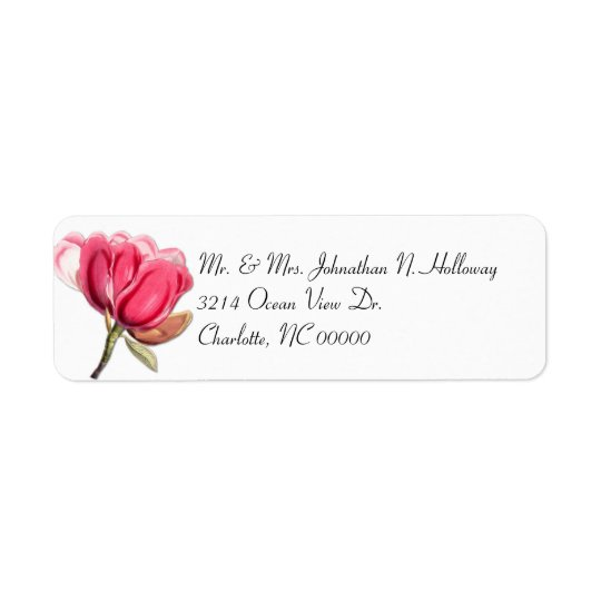 Southern Pink Magnolia Return Address Label