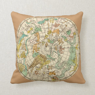 Southern Sky Star Chart and Constellations Map Throw Pillow