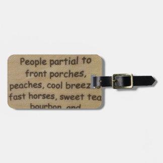 Southern slang luggage tag