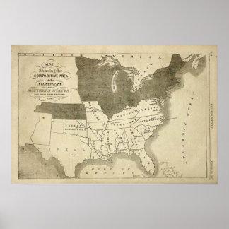 Southern States 1861 Map Print