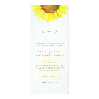 "Southern Sunflower Monogram Wedding 4"" X 9.25"" Invitation Card"