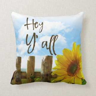 Southern Sunflower Welcome: Hey Y'all Throw Pillow