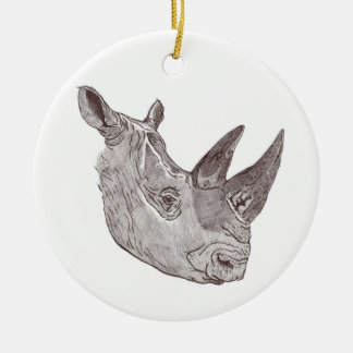 Southern White Rhinoceros Round Christmas Ornament